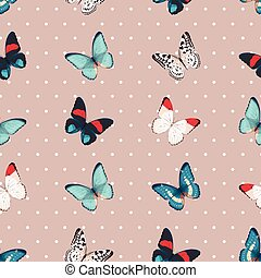Colorful butterflies seamless - High detailed colorful...