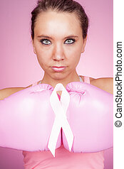 Fight for Breast Cancer symbol on pink background