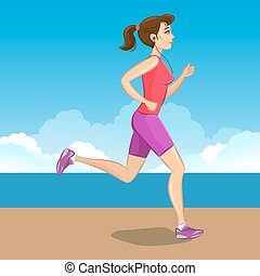 Active sporty young jogging woman, loss weight cardio training. Vector illustration.