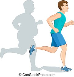 Illustration of a cartoon man jogging, weight loss concept, cardio training, health conscious concept running man, before and after.