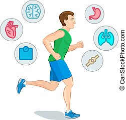 Jogging man, running infographic elements, loss weight cardio training. Vector illustration.