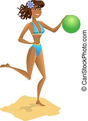 Girl with ball on the beach. Vector illustration.
