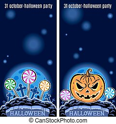 Set of two Halloween banners. Vector.