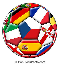 futbol, Pelota, con, vario, banderas,