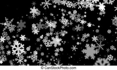 Broadcast Snow Flakes, Grayscale, Events, Loopable, HD