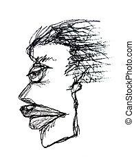 serio, Bosquejo, mujer, dibujo, retrato
