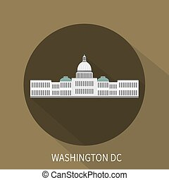 Capitol building in Washington DC. Vector icon.