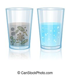 Glass with clean and dirty water, infection illustration....