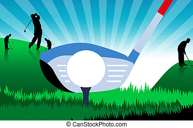 Golfer	 - golf ground and silhouette of golfers