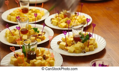 Cheese plate served. Close-up. - Cheese plate served with...