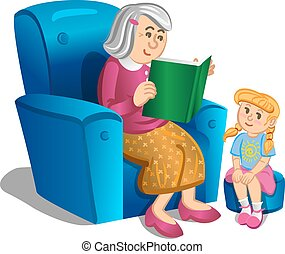 Grandmother reads book to the girl