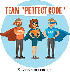 Programmers, developers, teamwork - Programmers, developers,...