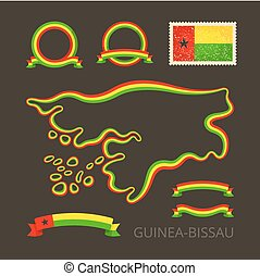 Colors of Guinea-Bissau - Outline map of Guinea-Bissau...