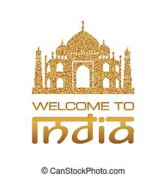 welcome india02.eps - Background with Taj Mahal gold...