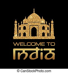 welcome india03.eps - Background with Taj Mahal gold...