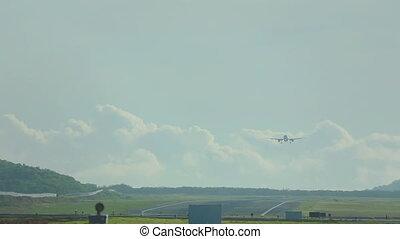 Airbus 320 landing, Phuket airport - Airbus 320 landing,...