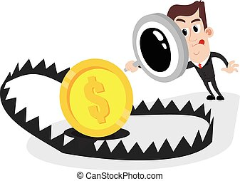 Businessman inspection - Clipart picture of a businessman...