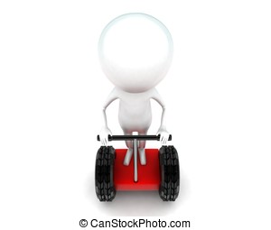 3d man driving two wheeler bike concept in white isolated...
