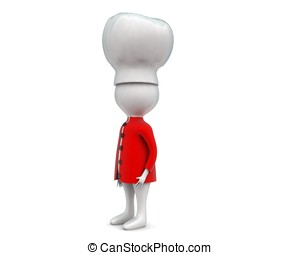 3d chef concept in white isolated background , side angle...