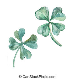 Watercolor clover St Patrick Day - Illustration for your...