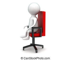 3d man sitting on rotatable chair concept in white isolated...