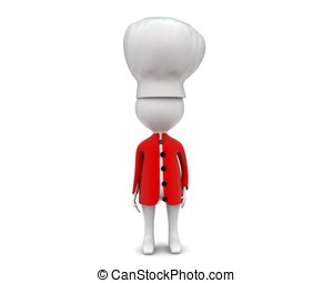 3d chef concept in white isolated background , front angle...
