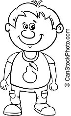 Black and White Cartoon Illustration of Funny Preschool or...