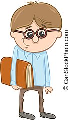 Cartoon Illustration of Funny Elementary School Age Boy