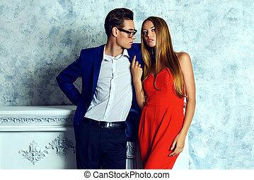 couple of love - Gorgeous couple of young people stand in a...