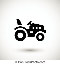 Mini tractor icon isolated on grey. Vector illustration