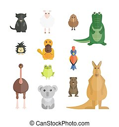 Australia wild animals cartoon vector collection Australia...