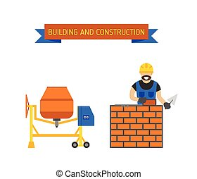 Illustration of under construction vector people