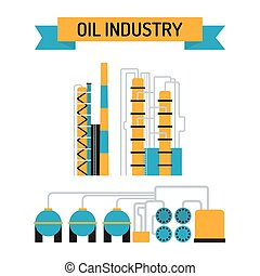 Oil industry flat style vector symbols Oil transportation,...