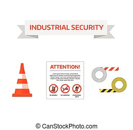 Safety work icons flat style. Safety icons vector...