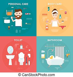 Man and woman hygiene icons vector set isolated on...