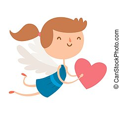 Valentine Day cupid angels cartoon style vector illustration...