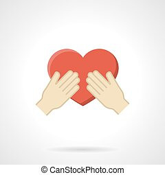 Cherish the love flat color vector icon - Hands holding red...
