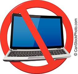 No Laptop Area - No Laptop - prohibition sign isolated over...