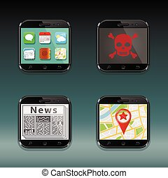 Mobile phones, apps icons