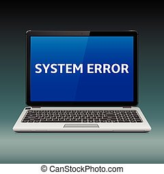 Laptop with system error message on blue screen - Business...