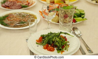 Catering table set service with silverware and glass -...