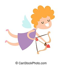 Valentine Day cupid angel cartoon style vector illustration....