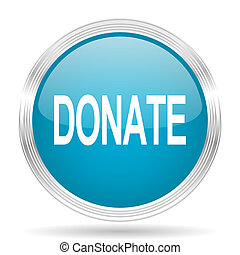 donate blue glossy metallic circle modern web icon on white...