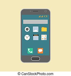 Smartphone with application icons. vector