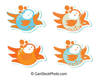 Set of different cute birds stickers emblems