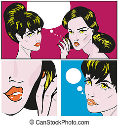 Illustration of a Retro Classic Comics Women Gossip or Buzz...