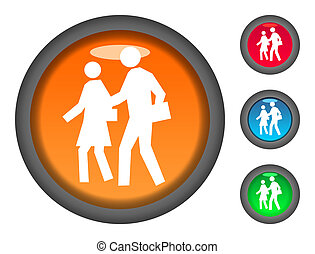 Walking to school button icons - Set of colorful circular...