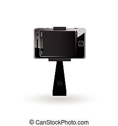 selfie mobile phone illustration in black color