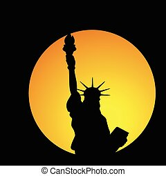 statue of liberty in new york illustration in colorful