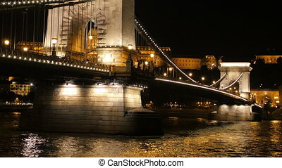 """Chain Bridge view at night, Budapest, 4k"""